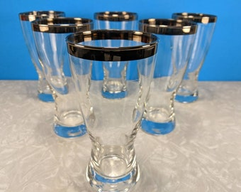 Vintage 6 Piece Hourglass Pilsner Silver Rimmed Tall Glasses - Dorthothy Thrope Style - Libbey Mid-Century Bar Glasses