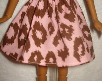 Fashion Doll Coordinates - Lite pink and brown Leopard print floral full skirt - es144