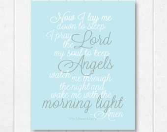 Now I Lay Me Down To Sleep . Frameable Prayer Print