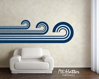 "RETRO WAVES Wall Decal or Vehicle graphics 28"" x 96"""