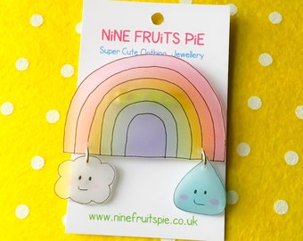 Kawaii April showers large brooch in pastel - rainbow, cloud and raindrop