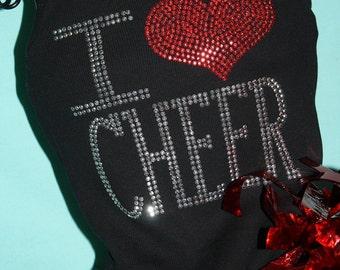 I HEART CHEER rhinestud tee by Daisy Creek Designs