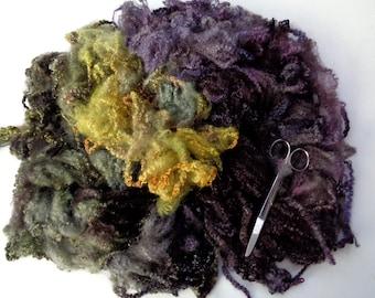 70g (31.21 Euro/100g) 2.6oz hand dyed bfl fleece, wool curls, wool locks, felting wool, dolls hair, spinning fiber,autumn colours, 100% wool