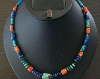 Gorgeous TURQUOISE CORAL LAPIS Lazuli Silver Necklace