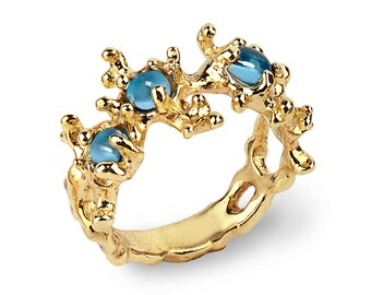 BETWEEN THE SEAWEEDS 14k Gold Blue Topaz Ring, Gold Gemstone Ring, Unique Gold Ring