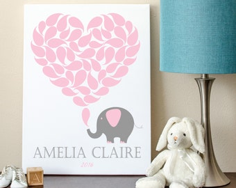 Elephant Guest Book Alternative, Baby Shower Guest Sign-In, Elephant Guestbook Alternative 8x10 - 50 Signature Shapes