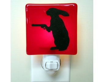 Funny Rabbit Night Light - Bunny with a Gun - Hand Painted Glass