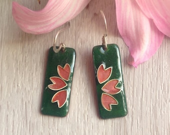 Glazed earrings with cherry blossoms