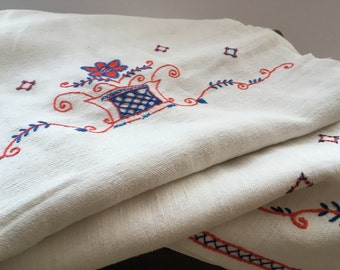 Antique embroidered curtain White red blue floral window panel Antique curtain Vintage needlework Embroidered floral panel