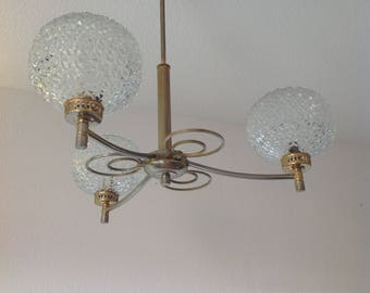 Chandelier 3 branches 50s french light chandelier, french style, art deco design fancy Rough, Golden chandelier glass chandelier