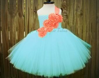 Aqua and coral Shabby Chic Flower Girl Tutu Dress