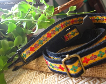 Waist Belt Black - Adjustable with Folk Embroidery Embellishment in Yellow or Blue Trim - Free Size for Kids and Adult