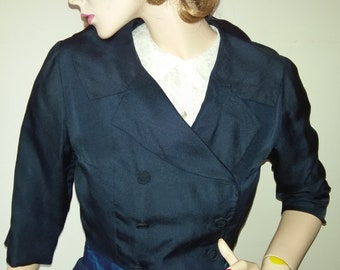 Vintage 60s Jacket Navy 50s Bolero Style 1960s Double Breasted Button Up Wrap