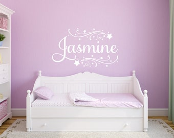 Girls Name Wall Decal - Shooting Star Decal Personalized Childrens Wall Decals - Baby Girl Nursery Wall Decal - Vinyl Wall Decal
