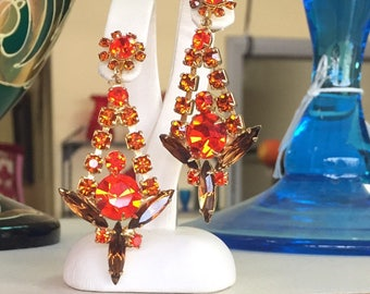 Vintage Juliana D&E sticks and stones 1968 collection orange chatons and dark topaz navettes book piece
