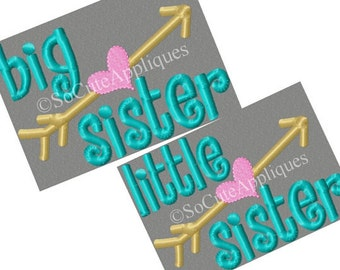 Personalized Big Little Brother Big Little Sister Arrows and Heart Applique Shirt or Bodysuit Girl or Boy