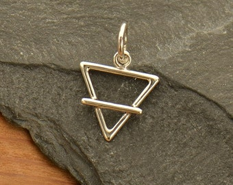 Sterling Silver, Element Charm, Earth Element, Symbol Charm, Water Element, Air Element, Fire Element, 4 Elements, Triangle Charm, Element