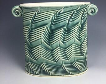 Kitchen Storage Jar. Ceramic Utensil Holder. Earthenware Pot. Flower Vase. Elegant Design Pot. Ceramic Tool Holder.  Handmade Pot.