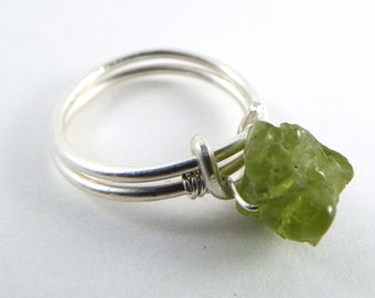 Raw Peridot Wire Wrapped Ring