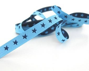 Ribbon stripe blue 7mm star farbenmix by the yard