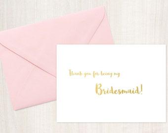 Printable Thank You Bridesmaid Card, Bridesmaid Thank You Card , Instant Download, printable cards, wedding card, bridal party cards