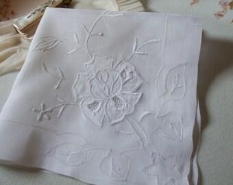 Hankie Rose Applique Handkerchief Bridal Wedding