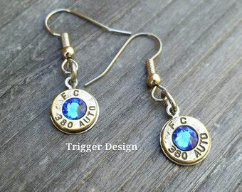 Simple 380 Caliber Dangle Bullet  Casing Earrings- Dark Blue