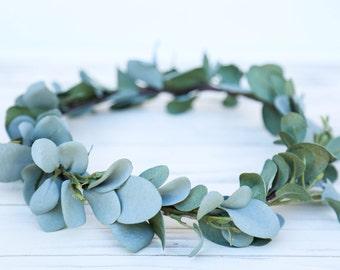 Sage Green flower crown headband, eucalyptus flower crown, headband, wedding headband, flower headband, boho flower girl, boho floral crown