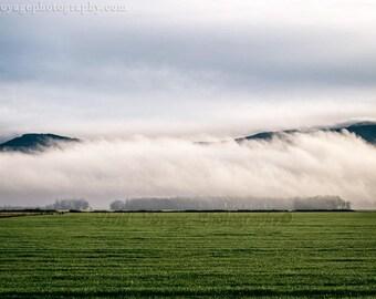 Landscape Photography, Farm Field, Fog Photograph, Stormy Sky, Nature Photo, Country Landscape, Cloud Photography, Farmhouse Decor, Rustic