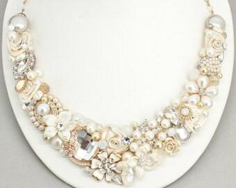 Bridal Bib Necklace-  Pearl Bridal Necklace- Bridal Statement Necklace- Ivory Wedding Necklace- Bridal Statement Bib- Gold Bridal Necklace