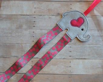 Embroidered Felt Elephant Hair Clip Holder Organizer Grey Pink Ribbon
