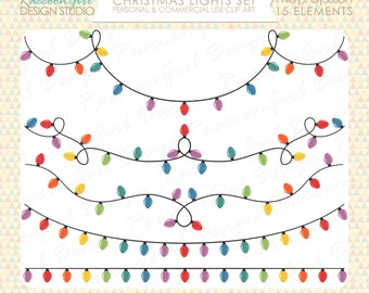 Christmas Lights Clip Art Set - Personal & Commercial Use