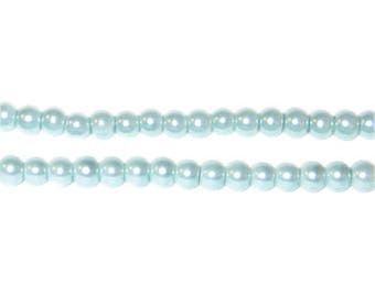 4mm Round Pale Aqua Glass Pearl Bead, approx. 113 beads