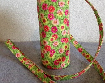 Insulated Water Bottle Carrier - Pink Floral on Green