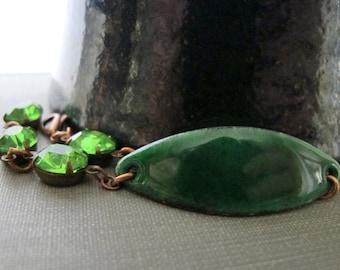 Green Bracelet, Enamel Bracelet, Enameled Copper, Copper Chain, Rhinestone Bracelet, Peridot Green, Emerald Green