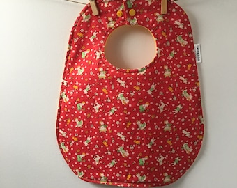 SALE!! Vintage-Inspired Red Baby Bib - Toddler Sized Bib with Snaps - Retro Baby Gift - Bibs with Snap Closure
