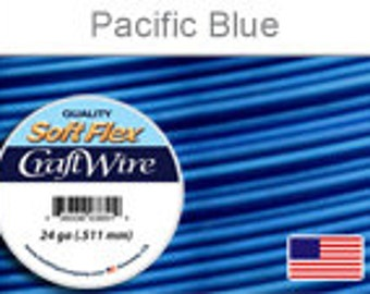 24 Gauge Pacific Blue Silver Plated Wire, Soft Flex, Tarnish Resistant,  Round, Supplies, Findings, Craft Wire