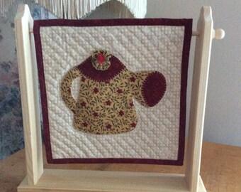Appliqué watering pitcher quilt; mini quilt; quilt; appliqué quilt