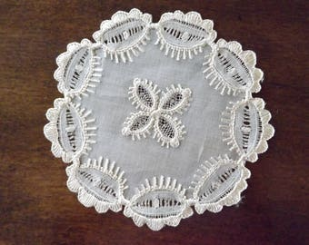 French Country Lace Doilie/Coaster 1930_Intricate Handmade Lace