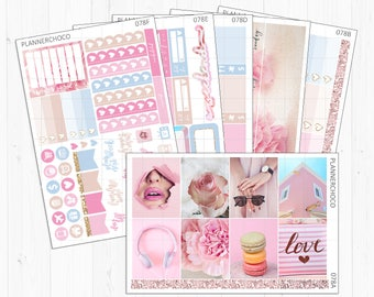 Pink holic weekly kit Stickers[W78]/planner stickers/ECLP/EC vertical/erin condren life planner/vintage chic addict love beauty love pastel