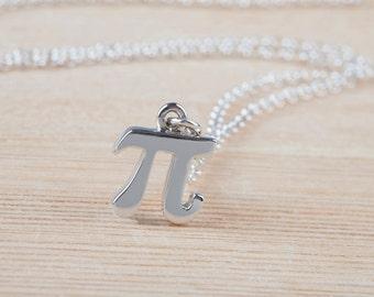 Pi Necklace, Pi Symbol, Math Jewelry, 925 Sterling Silver