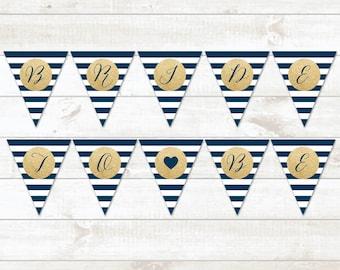 Bridal Shower Bunting Banner, Gold Navy Stripes Bridal Shower Bunting Banner, Gold Glitter Bridal Shower Bunting Banner - INSTANT DOWNLOAD