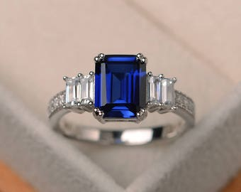 Engagement ring, blue sapphire ring, September birthstone, emerald cut gemstone, sterling silver ring