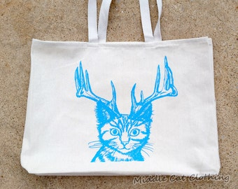 Catalope Tote Cat with Antlers Big Large Canvas Bag