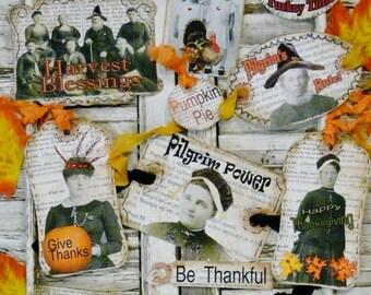 Thanksgiving Pilgrim Turkey Tags PDF  - Collage art Sheets old photos pumpkin labels pumpkin indian fall