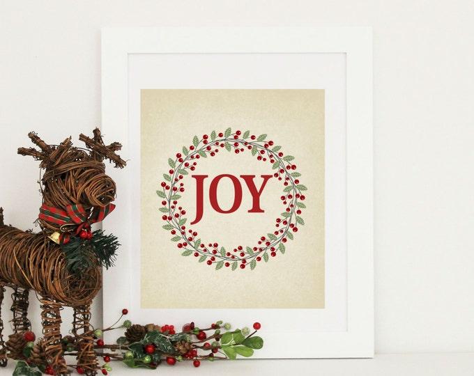 Christmas Decor  - Joy Christmas Print 8x10