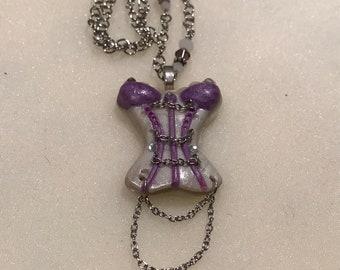 Vintage Female Corset Pendant with Necklace.VINTAGE UNIQUE RARE