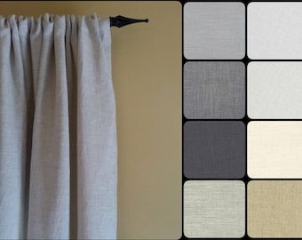 Linen Curtains: Pair of 100% Linen Curtain Panels in your choice of colors