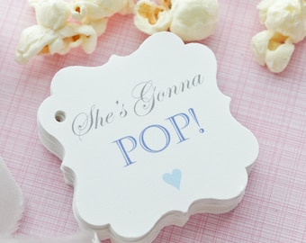 Baby Shower Favors Using Popcorn ~ Popcorn baby shower favor thanks for popping by tags only or