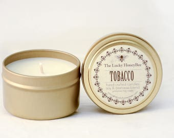 Tobacco || 6 oz Scented Candle || Soy + Beeswax Blend Candle in Gold Tin